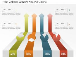 Am Four Colored Arrows And Pie Charts Powerpoint Template