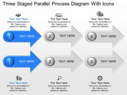 Am Three Staged Parallel Process Diagram With Icons Powerpoint Template Slide