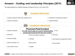 Amazon Guiding And Leadership Principles 2019