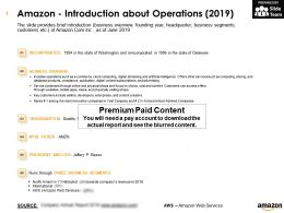 Amazon Introduction About Operations 2019
