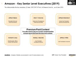 Amazon Key Senior Level Executives 2019