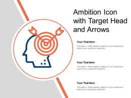 Ambition Icon With Target Head And Arrows