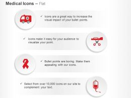 Ambulance Stretcher Aids Ribbon Blood Bank Ppt Icons Graphics