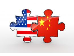 America And China Flag As Puzzles For Stock Photo
