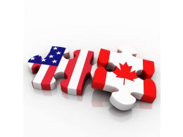 American And Canadian Flag Design Puzzle Stock Photo