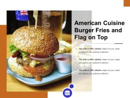 American Cuisine Burger Fries And Flag On Top