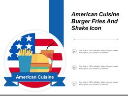 American Cuisine Burger Fries And Shake Icon