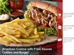 American Cuisine With Fries Sauces Chillies And Burger