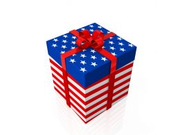 American Flag Design Gift Box Stock Photo