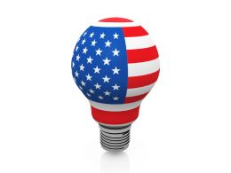 American Flag Designed Bulb Stock Photo