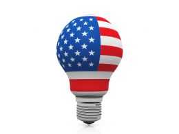 American Flag On Bulb Shows Idea Generation Stock Photo