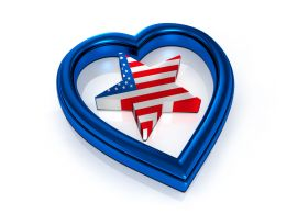 American Flag Style Star Inside Blue Heart Stock Photo