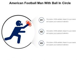 American Football Man With Ball In Circle