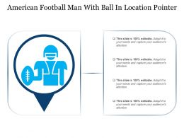 American Football Man With Ball In Location Pointer