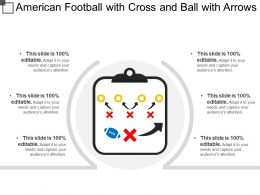 American Football With Cross And Ball With Arrows
