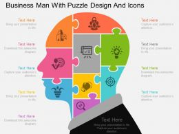 an Business Man With Puzzle Design And Icons Flat Powerpoint Design