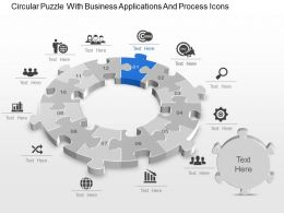 An Circular Puzzle With Business Applications And Process Icons Powerpoint Template Slide