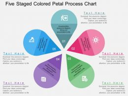 an Five Staged Colored Petal Process Chart Flat Powerpoint Design