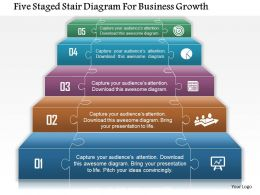 An Five Staged Stair Diagram For Business Growth Powerpoint Templets