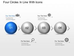 An Four Circles In Line With Icons Powerpoint Template