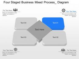 an Four Staged Business Mixed Process Diagram Powerpoint Template