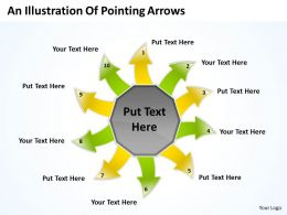 an illustration of pointing arrows Circular Layout Diagram PowerPoint Slides
