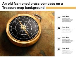 An Old Fashioned Brass Compass On A Treasure Map Background