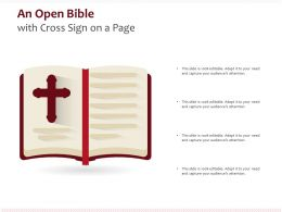 An Open Bible With Cross Sign On A Page