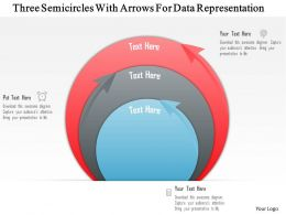 An Three Semicircles With Arrows For Data Representation Powerpoint Template