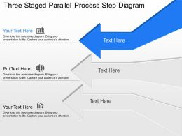 An Three Staged Parallel Process Step Diagram Powerpoint Template Slide