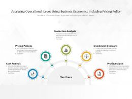 Analysing Operational Issues Using Business Economics Including Pricing Policy