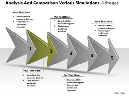 Analysis And Comparison Various Simulations 5 Stages Workflow Management Powerpoint Templates