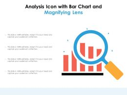 Analysis Icon With Bar Chart And Magnifying Lens