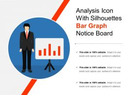 Analysis Icon With Silhouettes Bar Graph Notice Board