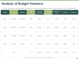 Analysis Of Budget Variance Ppt Powerpoint Presentation Layouts Professional