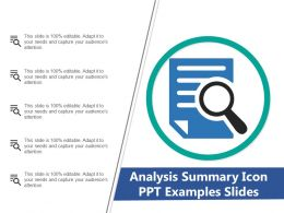Analysis Summary Icon Ppt Examples Slides