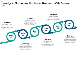 Analysis Summary Six Steps Process With Arrows