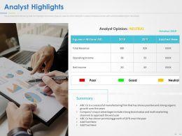 Analyst Highlights Ppt Powerpoint Presentation Summary Graphics Design