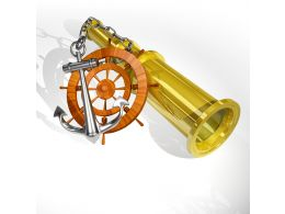 Anchor Wheel With Binocular On White Background Stock Photo