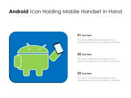 Android Icon Holding Mobile Handset In Hand