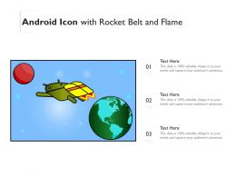 Android Icon With Rocket Belt And Flame
