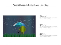 Android Icon With Umbrella And Rainy Day