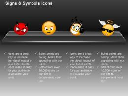 Angry Happiness Sad Angel Faces Ppt Icons Graphics