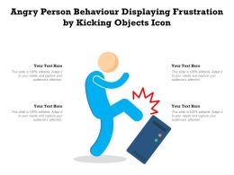 Angry Person Behaviour Displaying Frustration By Kicking Objects Icon