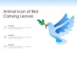 Animal Icon Of Bird Carrying Leaves