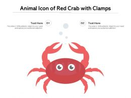 Animal Icon Of Red Crab With Clamps