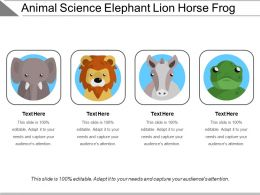 Animal Science Elephant Lion Horse Frog