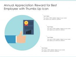 Annual Appreciation Reward For Best Employee With Thumbs Up Icon