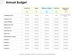 Annual Budget Raw Material Ppt Powerpoint Presentation Portfolio