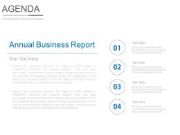 Annual Business Report For Agenda Powerpoint Slides